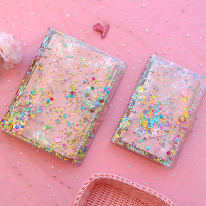 A5 A6 Cute Transparent PVC Sequins Cover Office School 6 Rings Binder Spiral Planner Agenda Organizer Notebooks Stationery