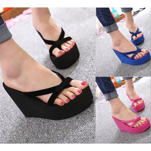 Platform Sandals Flip-Flops Women Shoes High-Heel Slides Fashion Slippers Beach Solid