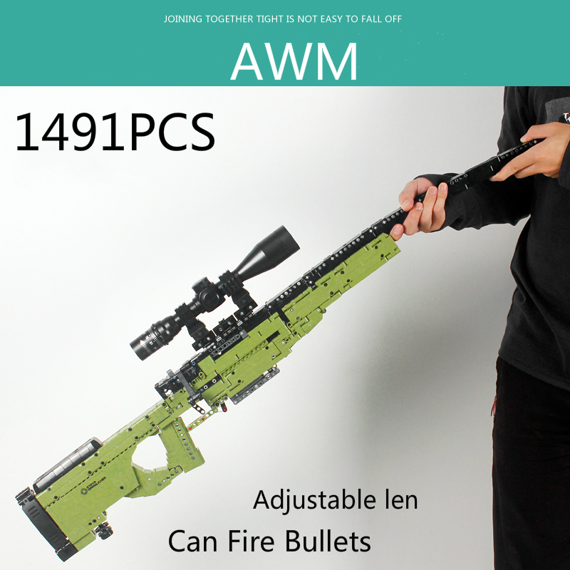 New 1491pcs AWM Sniper Rifle Gun Model Building Blocks Technic Guns Bricks PUBG Military SWAT Weapon Toys