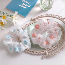 1 Pcs INS Korea Women Lace Elastic Hair Bands Girls Mesh Embroidery Daisy Scrunchie Ponytail Headwear Hair Accessories