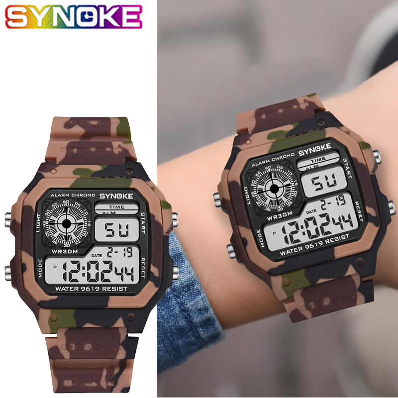 SYNOKE Kids Digital Watches Sports Camouflage Military Multi Function 7 Colorful Luminous Waterproof Children Digital Watches