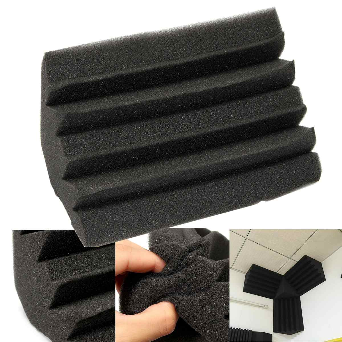 24x12x12cm Mini Corner Sound Absorbing Foam Cotton Corner Bass Traps Studio Foam Panel Sound Absorbing Acoustic Treatment