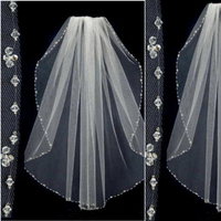 Crystal Beaded Wedding Veils Tulle One Layer Bridal Veil Short Bridal Veil Wedding Accessories Bridal Party Veils With Comb