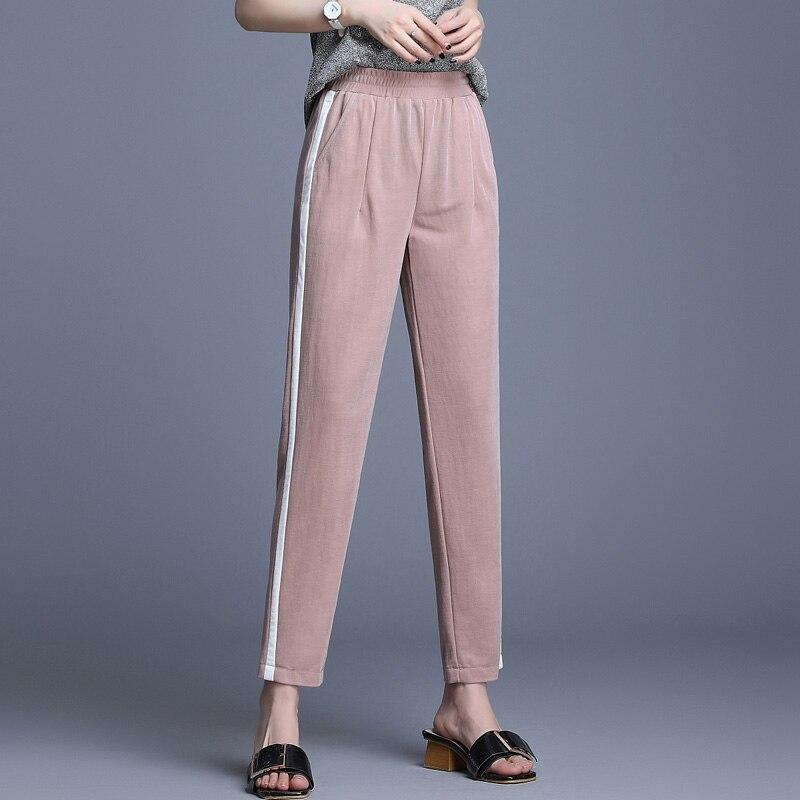 2020 verão fino harem calças femininas casual harajuku cintura alta plus size calças femininas tornozelo-comprimento calças femininas coreano mãe calças