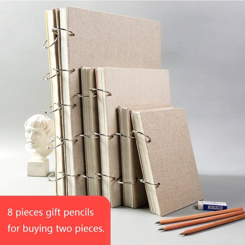 Skrin buku sketsa retro linen hardcover 120 halaman 160 gram per - Pad nota dan buku nota - Foto 2