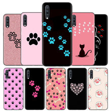 Silicone Case Cover For Samsung Galaxy A50 A80 A70 A60 A40 A30 A20 A20e A10 A9 A8 A7 A6 Plus 2018 Note 10 9 8 Cat Dog Paw Design(China)