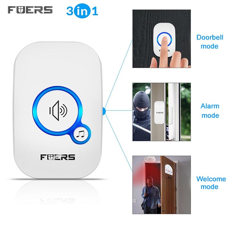 Купить с кэшбэком FUERS M557 Wireless Doorbell Home Security Alarm/ Welcome Smart Doorbell 3in1 Multi-purpose Door Button 433MHz Easy Installtion
