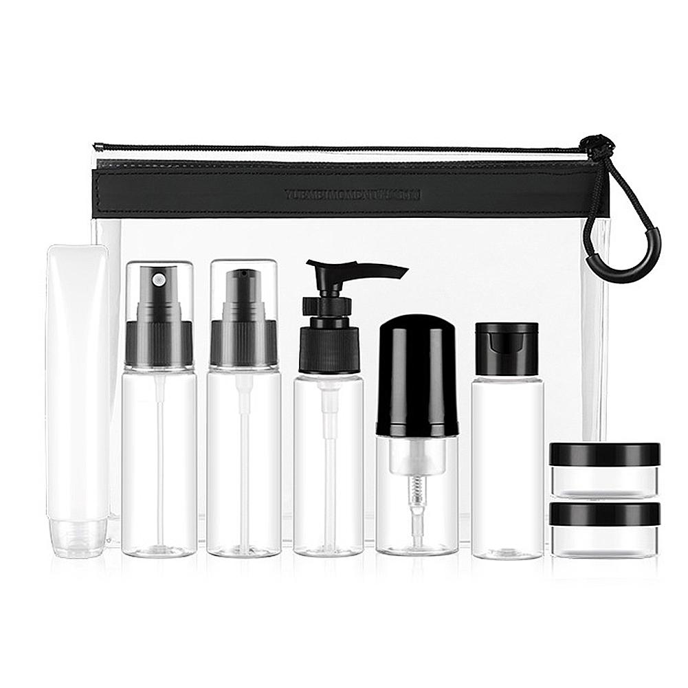 Portable Travel Bottles Set Refillable Toiletries Containers For Liquid Shampoo With Spray Bottle Cosmetic Cream Bottles