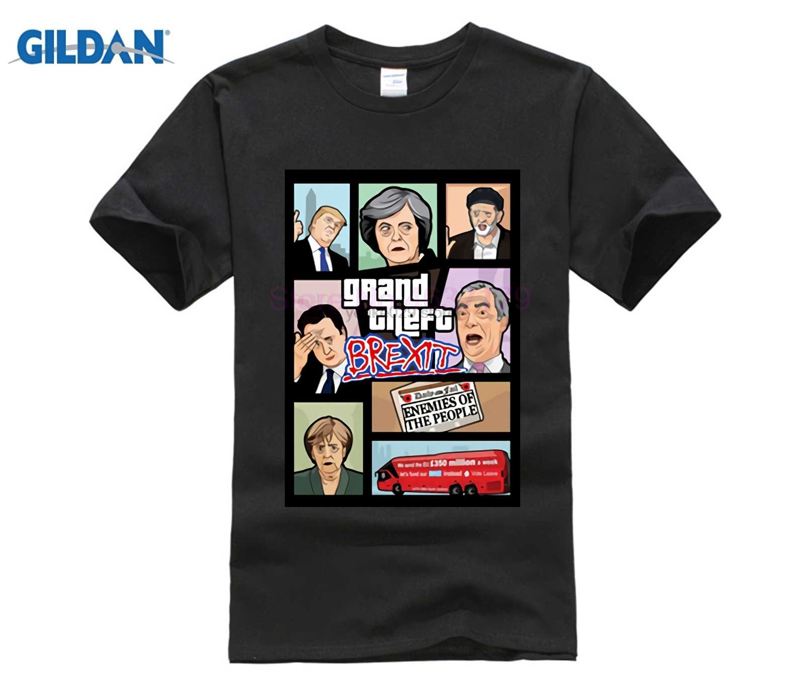 Grand Theft Auto 3D мужская футболка GTA 5 Футболка смешная видео игра Brexit Британия Меркель
