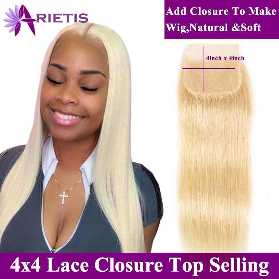 Arietis Hair 613 Blonde Brazilian Straight Hair HD Closure 4x4 Transparent Swiss Lace Closure With Baby Hair Human Hair Closure
