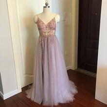 Pink Split A Line Spaghetti Straps Beaded Lace Prom Dress PU27