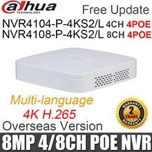Dahua nvr NVR4104-P-4KS2/l 4ch NVR4108-P-4KS2/l 8ch com 4poe portas max 8mp resolução 4k h.265 gravador de vídeo em rede