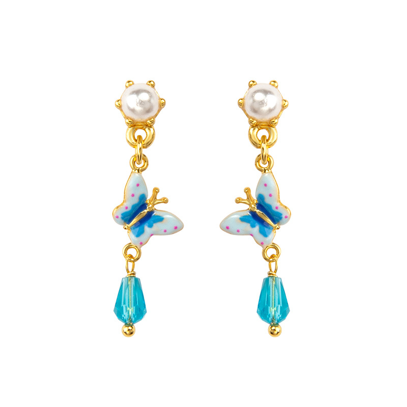 New Arrived Earring 2020 Spring Fashion Beautiful Pearl Earrings Handmade Painted Enamel Glaze Butterfly Stud Earring For Women
