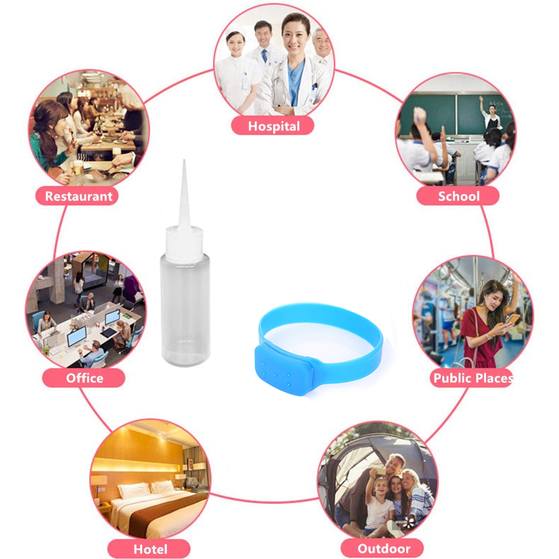 1PC Portable Silicone 10ml Disinfectant Wristband Hand Sanitizer Bracelet+Bottle For Hand Sanitizer Sunscreen Mosquito Repellent
