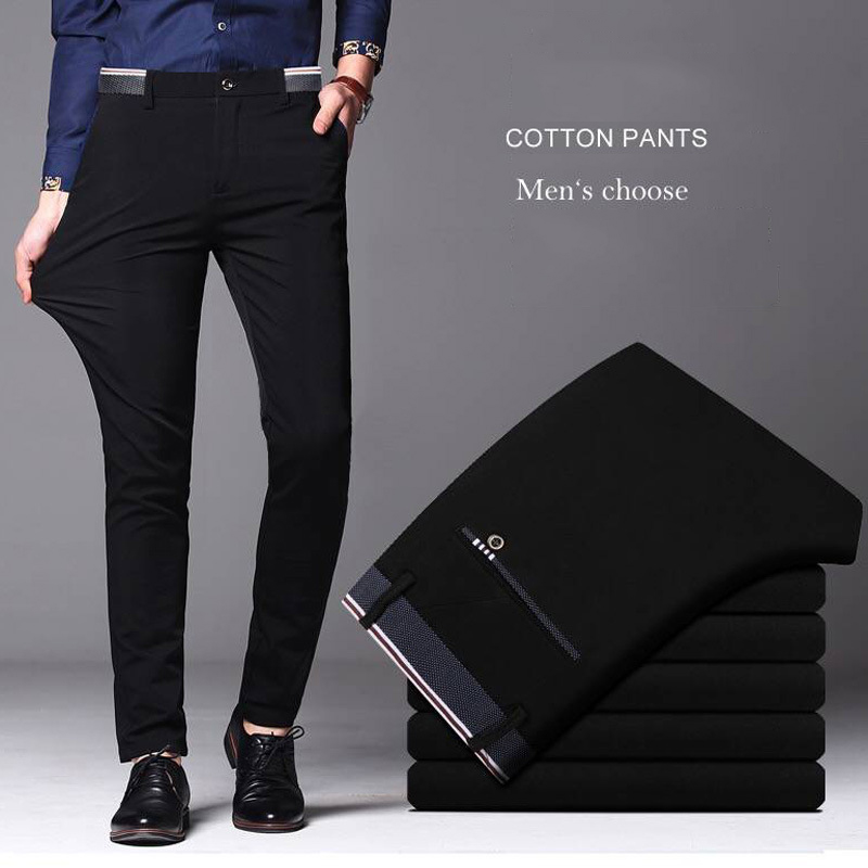 New Summer Men's Black Casual Pants Mens Autumn High Quality Business Trousers Men's Straight Harem Pants pantalon homme