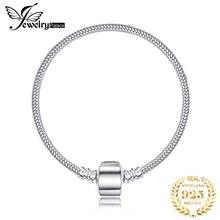 Jewelrypalace 925 ayar gümüş bilezik yılan zincir bileklik bileklik kadınlar için bilezik Fit boncuk Charms gümüş 925 orijinal