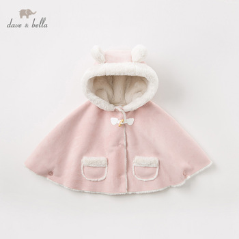 DB11447 dave bella winter baby girls cute solid pockets rabbit hooded coat children tops fashion infant toddler outerwear