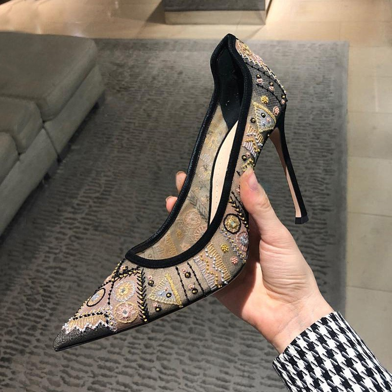 Embroidery Pumps Women High Heels Shoes Woman Leather Ladies Shoes Slip On Sapato Feminino Sexy Scarpe Donna Zapatos De Mujer