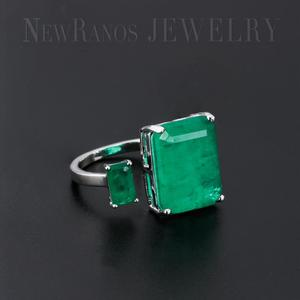 Image 2 - Newranos Square Fusion Stone Finger Ring Blue Natural Double Stone Opening Ring for Women Fashion Jewelry RFX001904