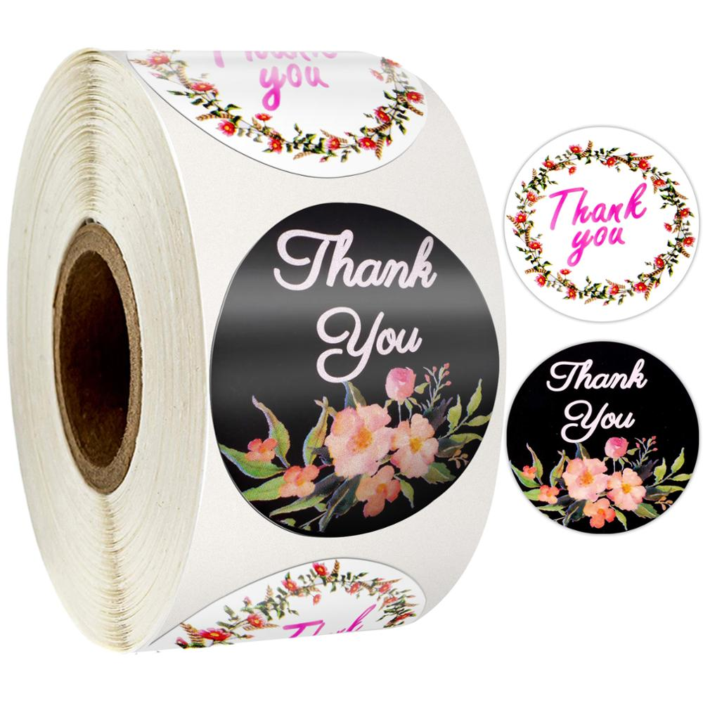 500 Pcs Round Flower Thank You Sticker Seal Labels 1Inch Black And White Sticker Scrapbooking Stickers Stationery Sticker
