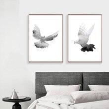 Современная декоративная картина на холсте птица голубь белый