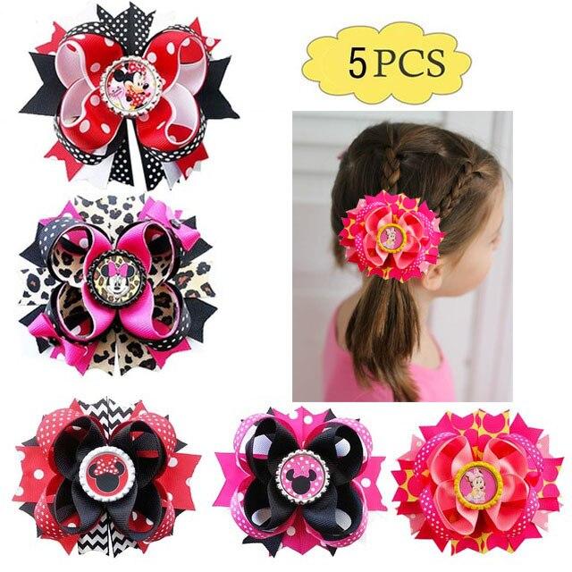 """Frete grátis 5 pçs menina cabelo arco 4.5-5.5 """"artesanal boutique em camadas cabelo arco minnie inspirado grampos de cabelo"""