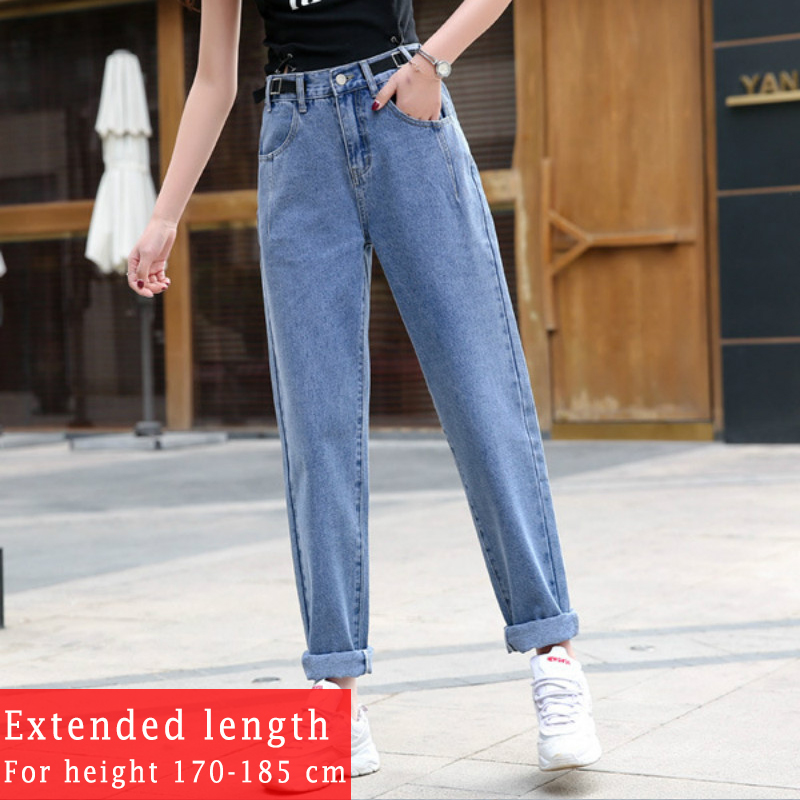 2020 Spring Women Looose Denim Jeans Fashion Korean Boyfriend Style Pants Plus Size Extended Length For Height 170-185cm Women