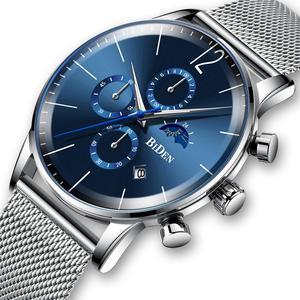Мужские часы Teenram, Модные Военные Аналоговые часы с хронографом, кварцевые бизнес роскошные часы для мужчин, сетчатый ремень из нержавеющей ...