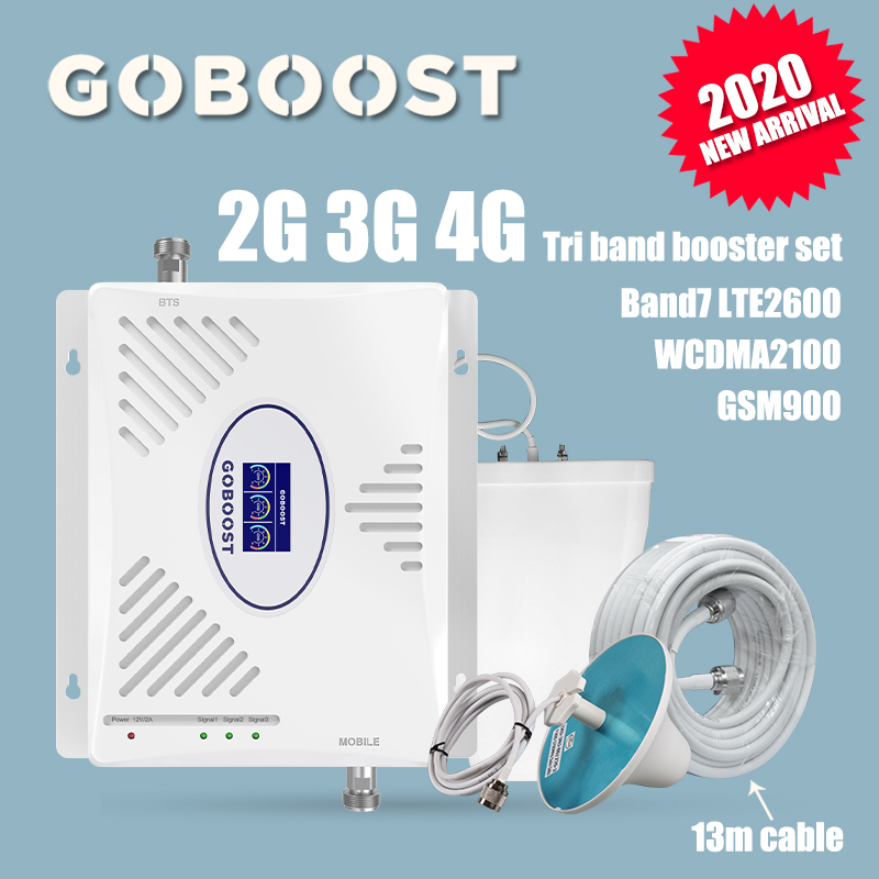 2G 3G 4G GSM Repeater 900 2100 2600 Cell Phone Signal Booster Set Cellular Signal Amplifier WCDMA Band1 Band7 LTE 4G 2600 70dB