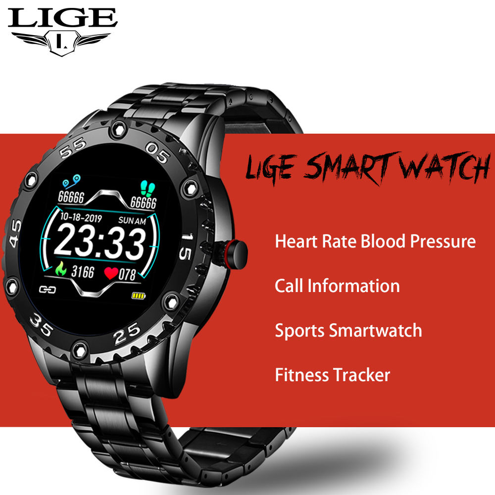 LIGE Men Smart Watch Heart Rate Monitoring Smartwatch Waterproof Fitness Tracker Pedometer Sport Smart Watch Men for Android ios