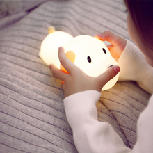 Cute Dog Dimmable LED Night Light Lamp Touch Silicone Puppy Cartoon for Baby Children Kids Gift Bedside Bedroom