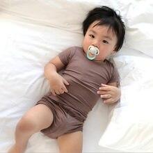 Yaz yenidoğan bebek kız erkek giysileri nervürlü pamuklu rahat kısa kollu üst T-shirt + şort yürüyor bebek yüksek bel kıyafet seti
