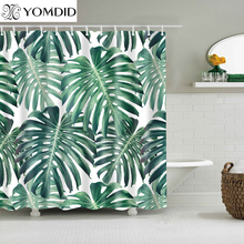 Green Tropical Plants Shower Curtains Bathroom Polyester Waterproof Shower Curtain Leaves Printing Curtains for Bathroom Shower cheap YOMDID Modern Scenic TO95D Eco-Friendly
