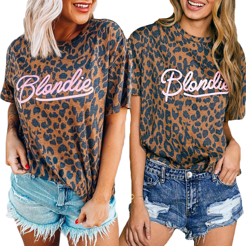 Leopard Blondie Letter Printed Round Neck Short Sleeve T-Shirt 2020 Fashion Sexy Summer Top Women's Clothing Plus Size S-3XL