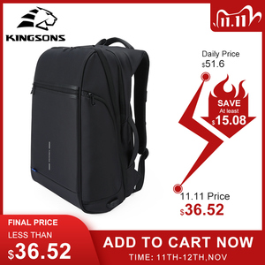 Image 1 - Kingsons plecak męski Fit 15 17 cal laptopa USB ładowania przestrzeń wielowarstwowa podróży torba męska Anti theft Mochila