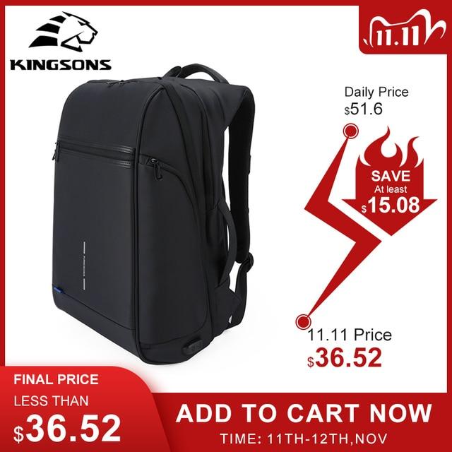 Kingsons plecak męski Fit 15 17 cal laptopa USB ładowania przestrzeń wielowarstwowa podróży torba męska Anti theft Mochila