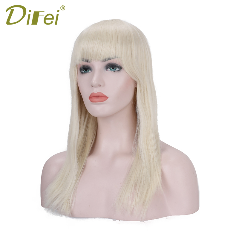DIFEI Women Long Straight Hair With Bangs  Blonde Wigs For Black Women  Synthetic Wig