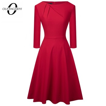 Women Elegant Summer Ruched Cap Sleeve Casual Wear To Work Office Party Fitted Skater A-Line Swing Dress EA067 - discount item  45% OFF Dresses