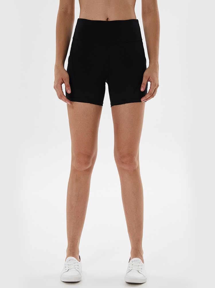 Baru Wanita Celana Pendek Ketat Tinggi Pinggang Saku Anti Cahaya Kebugaran Solid Warna Celana Pendek