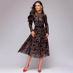 2019 взрывные цифровые печатные тонкие платья с длинными рукавами