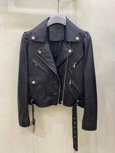 2021 High Quality Sheepskin Women Slim Genuine Leather Spring Autumn Fashion Classic Jacket Moto Biker Jacket Real Leather Coat