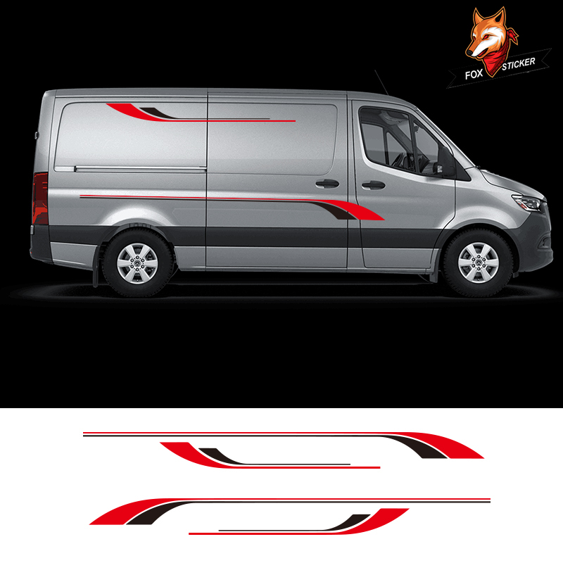 1 Pair 2 Sides Gloss Auto Side Car <font><b>Sticker</b></font> <font><b>Motorhome</b></font> Stripes Camper Van Graphics <font><b>Stickers</b></font> <font><b>Decals</b></font> for Mercedes Sprinter Vinyl image