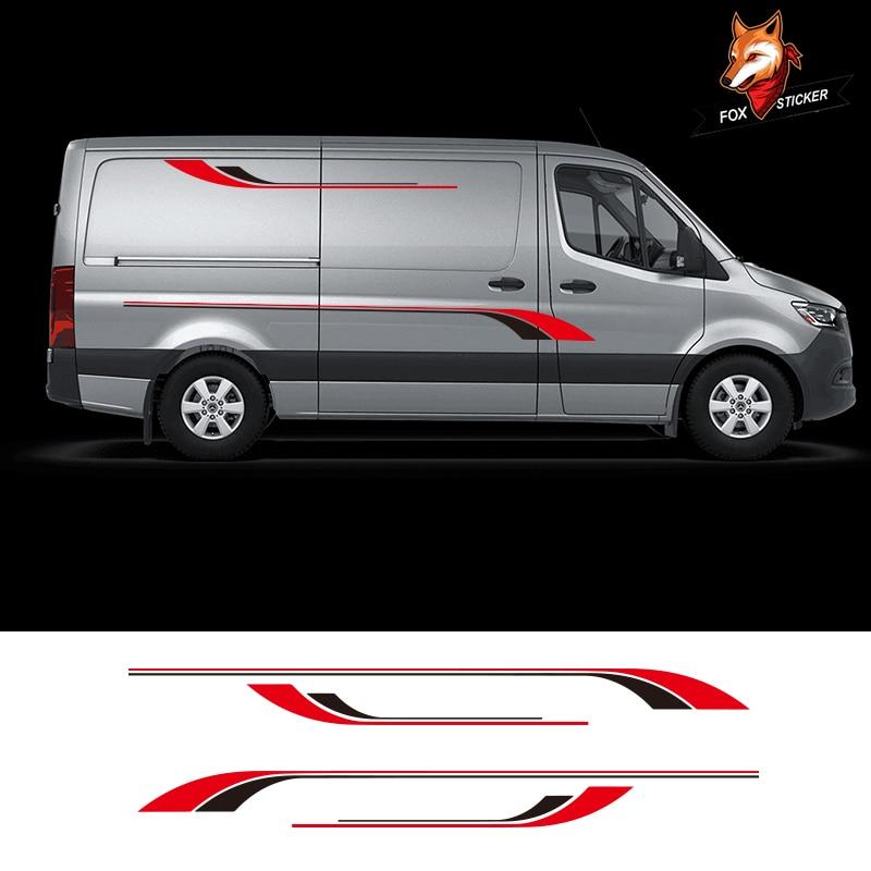 1 paire 2 côtés brillant Auto côté voiture autocollant camping-Car rayures camping-Car Van autocollants graphiques autocollants pour Mercedes Sprinter vinyle