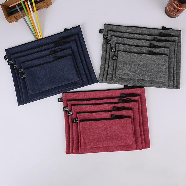 Solid Color PU A4 Zipper Bag File Rack Multi-function Zipper File Case Pencil Case Student Office Supplies A5 B6 File Folders