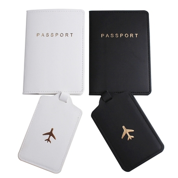Solid Airplane Passport Cover Luggage Tag Couple wedding Passport Cover Case set Letter Travel Holder Passport Cover CH25LT42