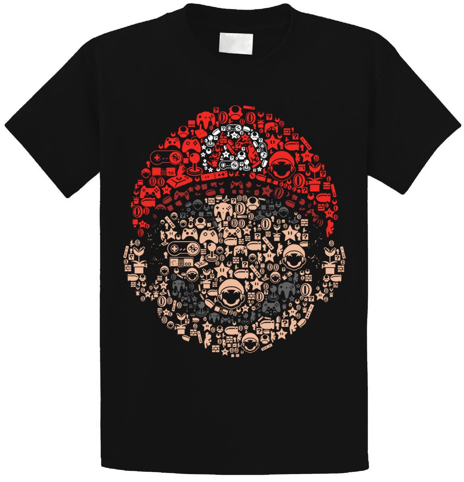 Super Mario Bros Mashup T Shirt Top Mushroom Kingdom Luigi Nintendo Geek Italian Simple Splicing Tee Tops Harajuku
