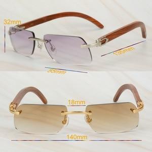 Image 5 - Wooden Retro Rimless Sunglasses Men Women Sun Glasses for Driving Fishing Luxury Carter Glasses Frame Wood Sunglasses for Male