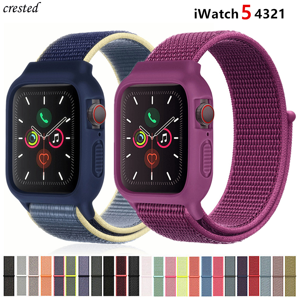 Case+strap For Apple Watch Band 44 Mm 40mm IWatch Band 42mm 38mm Nylon Sport Loop Bracelet Apple Watch 5 4 3 2 1 Series 38 44mm