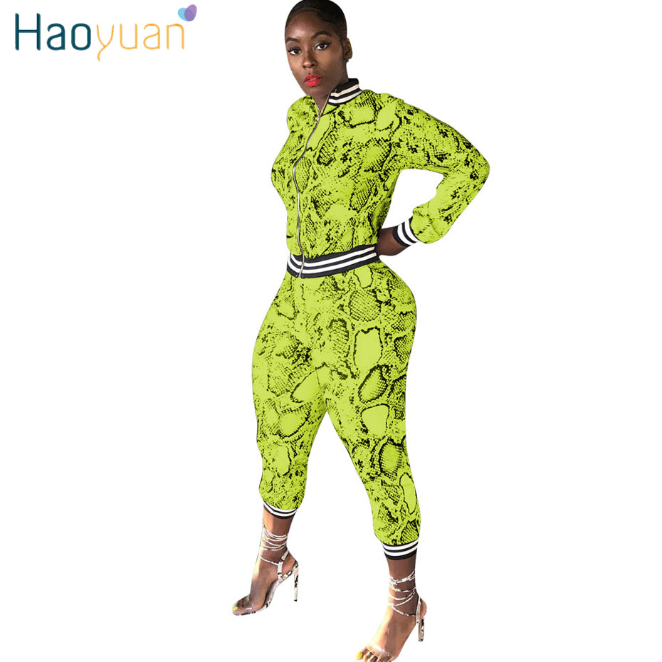 HAOYUAN Neon Snake Print Two Piece Set Women Tracksuit Festival Crop Top And Pant Fall 2Piece Outfits Plus Size Matching Sets