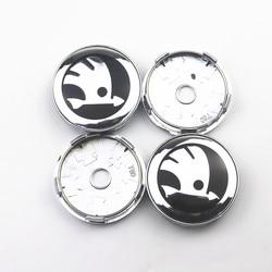 4 sztuk 60mm osłony piasty samochodu znaczek z symbolem Logo osłona środkowa koła dla skoda octavia fabia rapid superb octavia a 5 a 7|Nakładki na koła|Samochody i motocykle -